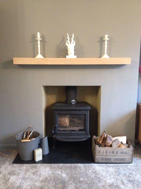 Jotul Wood Burner Grey Living Room