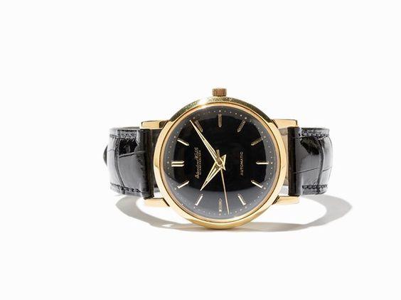 IWC Black Dial Wristwatch in 18K Gold, Switzerland, Around 1960