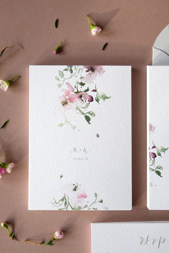 Botanische Blumenhochzeitseinladungen Weddinginvitation