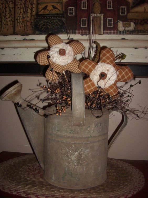 Primitive Crafts Flower And Rustic Watering Cans On Pinterest