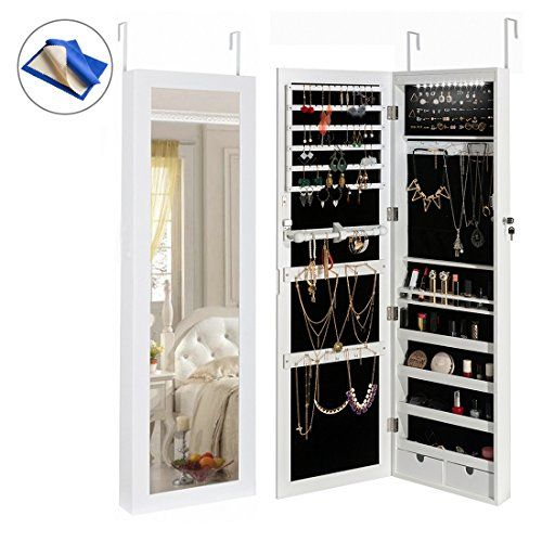 Wall Mounted Jewelry Armoire Mirror, Mirrored Jewellery Cabinet Wall Mounted