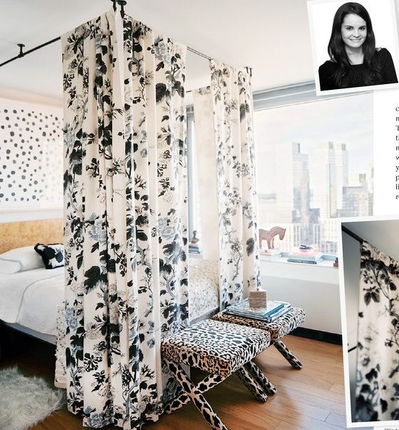 Oh my word, canopy curtains hung using pipe!  Brilliant design via Lonny Magazine & The Decorista