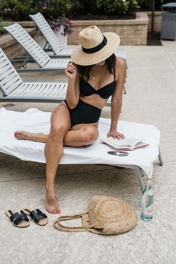 Schwarzer-Bikini-Damen-Sommer-Pool-Luftmatratze