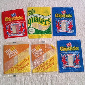 Various Smith's Crisps packets - check out the chicken fry flavour!
