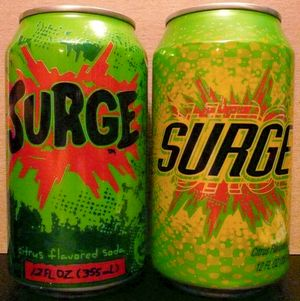 Surge. Original and second logo on cans.