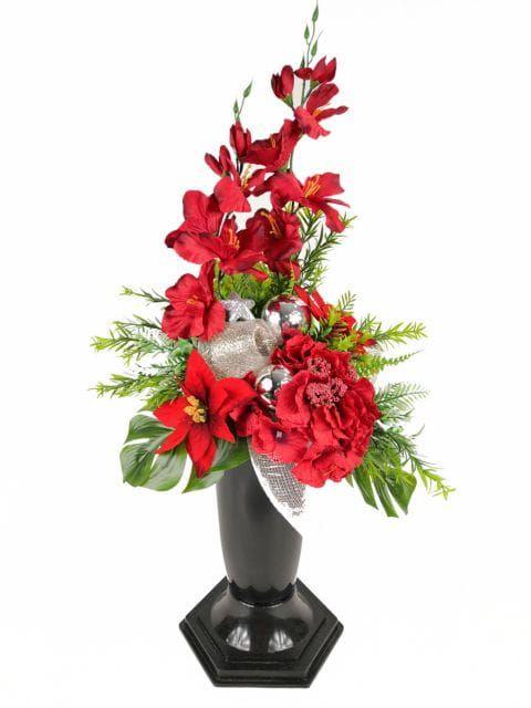 Gwiazda Betlejemska Czerwona 1286 7a Stroik Bukiet Z Wkladem Komplet Na Grob Na Swieta Boze Narodzenie Kompozycje Kwiatowe Marko6 Diy And Crafts Crafts Diy