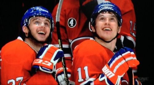 Chuckie and Gally sharing a moment with each other after Chuckie's 1st NHL hat trick