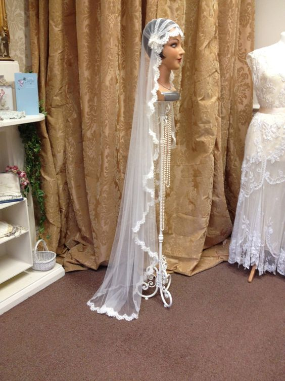 1920's -1930's, The Great Gatsby, Flapper, Downton Abbey, Vintage, Kate Moss, Wedding Veil, Juliet Cap, Any Length - Made to Order