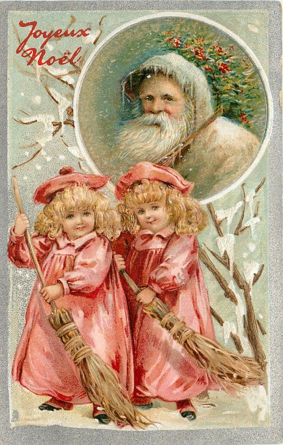 JOYEUX NOEL  two girls in red sweep below head & shoulders of white coated Santa