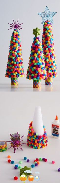 DIY: Colorful Pom Pom Trees will make fun craft projects for the kids to create during their Christmas break. Who doesn't love pom-poms!: