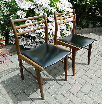 Set of 2 mid century 1960s/70s #retro #vintage teak chairs with #black vinyl seat,  View more on the LINK: 	http://www.zeppy.io/product/gb/2/252506067066/