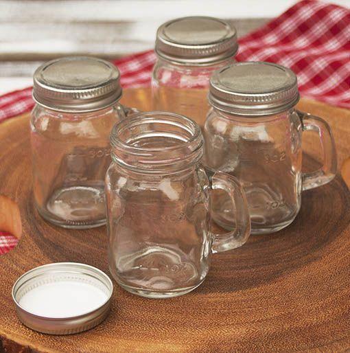 Mason Jar Shot Glass Drinking Mugs With Lids Handles 4 Oz Set Of 4 Homebrewingrecipesbeer Mason Jars With Handles Mason Jar Shots Mason Jars