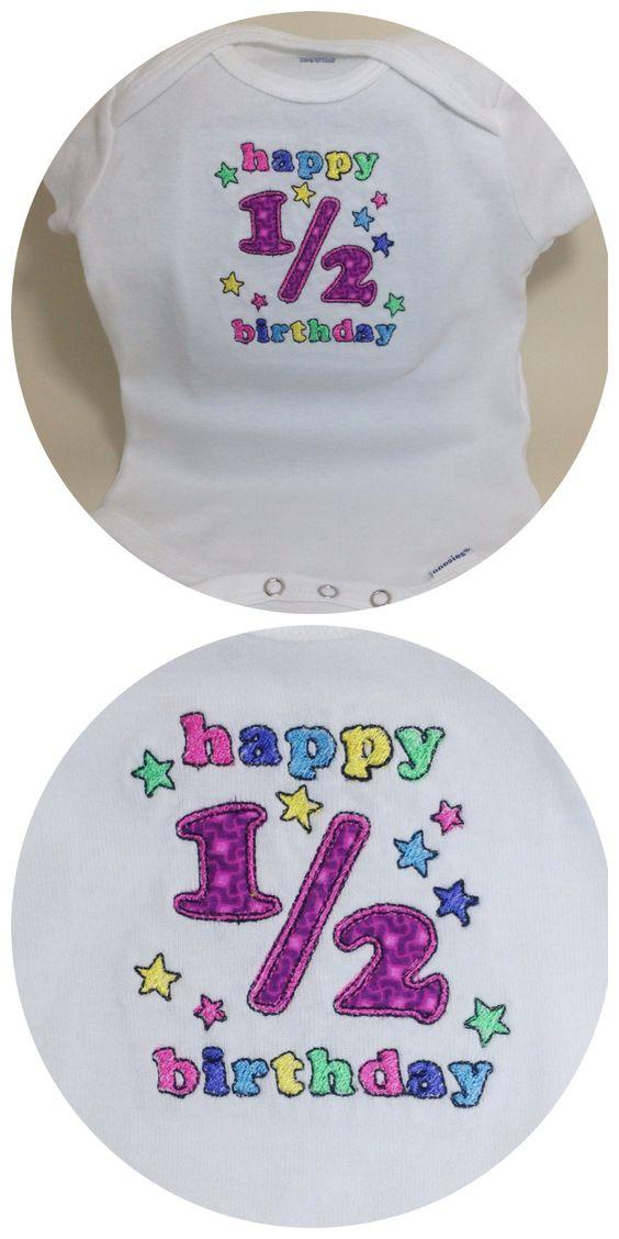 Short Stack Stitches - 1/2 birthday onesie