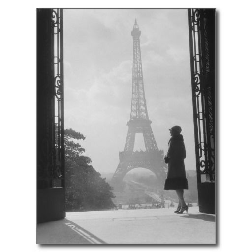 Moody silhouetted woman paris standing in trocader postcards