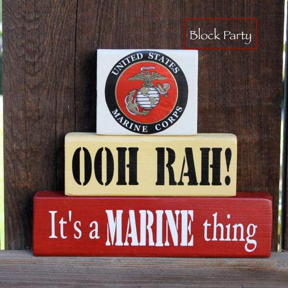 OOH RAH Marine Corps Wooden Block Set by BlockPartyDecor on Etsy, $24.00