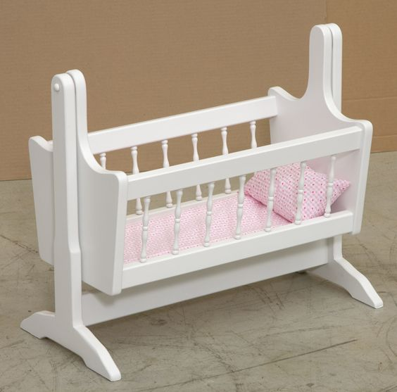 Wood Baby Doll Furniture #25: Amish Handmade Swinging Cradle With Bedding *Available In Oak Pink Or White* This Beautiful Wood Doll Furniture Is Manufactured In A Primitive Wood Shop ...