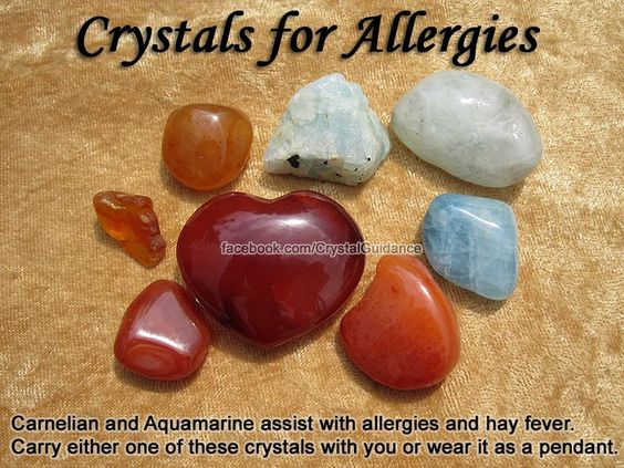 Crystals for Allergies — Carnelian and Aquamarine assist with allergies and hay fever. Allergies are associated with the Solar Plexus chakra, so try holding your Carnelian to this area for about 15 minutes a day and carry it with you the rest of the day.