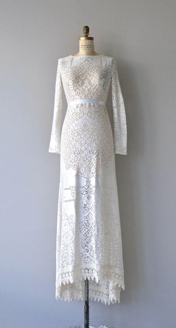 Freyja wedding dress 1970s wedding dress lace 70s by DearGolden