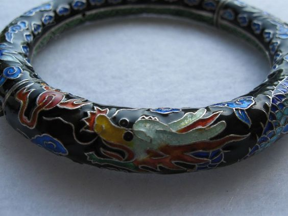 Vintage Chinese export enamel dragon bangle bracelet, SILVER