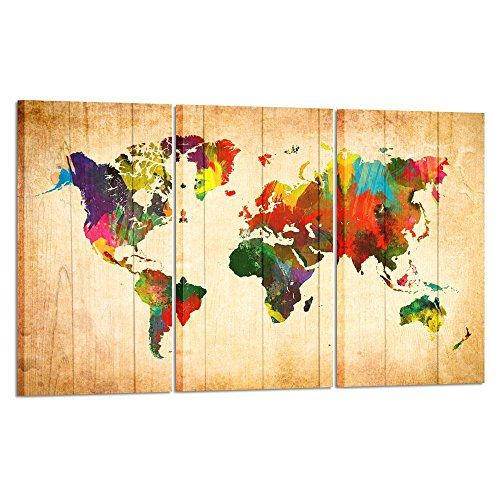Vintage painting art deco MAP OF WORLD poster canvas framed