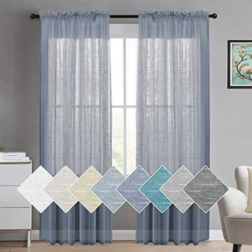 Turquoize Pure Linen Sheer Curtains Comfortable Semi Sheer Curtain Panels For Bed Room Linen Window Curtains In 2020 Sheer Linen Curtains Curtains Living Room Curtains