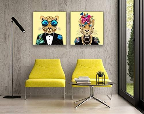 Amazon Com Framed Canvas Wall Art Yellow Suited Leopard Wall Pictures Prints In 2020 Bedroom Decor For Couples Cozy Framed Canvas Wall Art Bedroom Decor For Couples