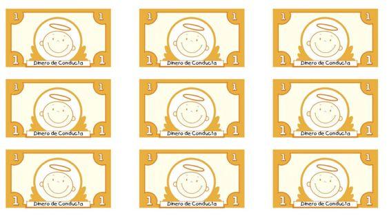 Modificar las conductas, billetes de conducta imprimibles para realizar Economía de fichas