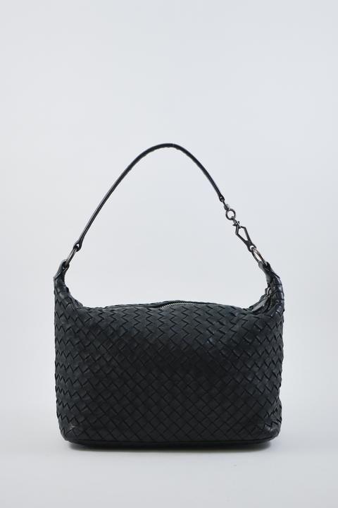 Bottega Veneta Black Intrecciato Shoulder Bag Designer Consignment Bags Leather Working