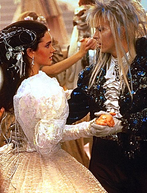 Jennifer Connelly as Sarah and David Bowie as Jareth in the magical ballroom scene in 'Labyrinth'