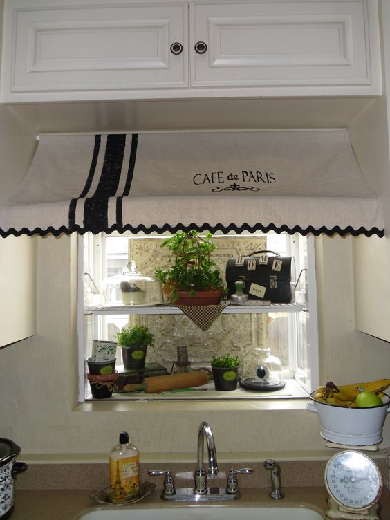 Kitchen Curtains bistro style kitchen curtains : Cafe de Paris awning curtain I made for my garden window ...