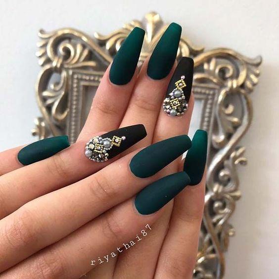 Dark Green and Black Matte Coffin Nails