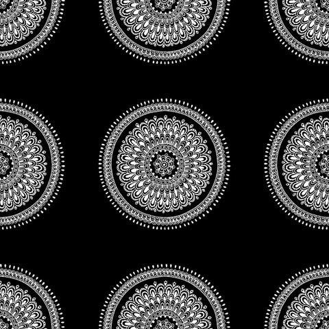 Black Mandala Removable Wallpaper From Wallsneedlove Bohemian Wallpaper Removable Wallpaper Mandala Wallpaper