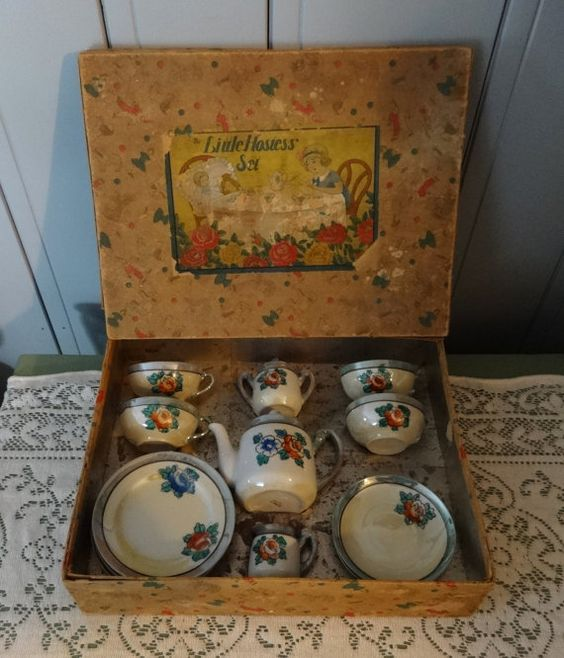 Little Hostess Tea Set Childs Doll Dishes by misslillydawg on Etsy, $30.00