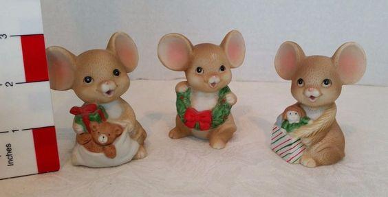 3  Mice Figurines Holding Christmas Present Brown Mouse Sri Lanka