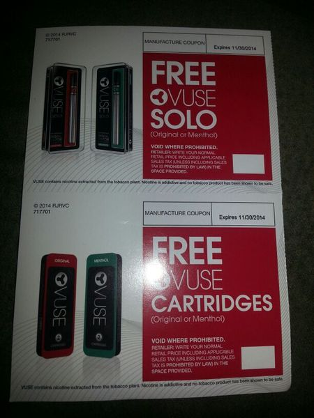 ☆☆FREE☆☆ VUSE SOLO E-CIG COUPON PLUS COUPON FOR FREE CARTRIDGES