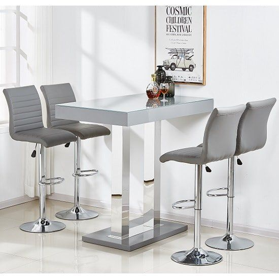 Caprice Glass Bar Table In Grey Gloss With 4 Ripple Stools Furniture In Fashion Glass Bar Table Bar Table Glass Bar