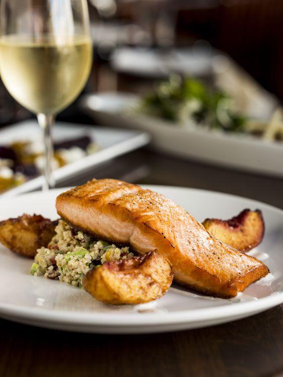 Seared Northern Salmon - $16 Quinoa & Edamame Salad, Cayenne Roasted ...