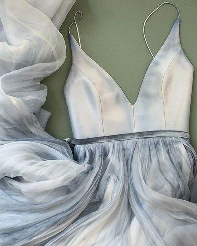 Charming Prom Dress,Satin Prom Dress,Tulle Prom Dress,Spaghetti straps Evening…