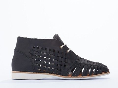 Rollie Chukka Huarache in Black Distressed Leather