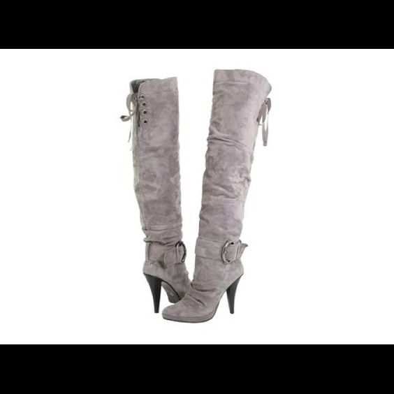 """Previously Listed Gray Boot Please Read.....These are previously loved with flaws from wear....They are above the knee (16"""" Opening/adjustable). Lined with a cushion-like interior, new heel tips included.... Two Lips Shoes Over the Knee Boots"""