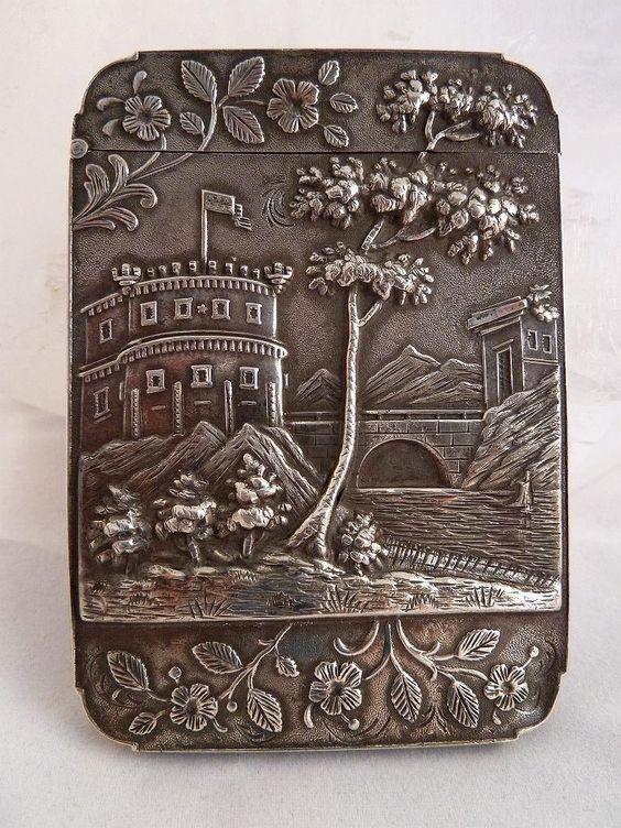 "American coin silver ""castle-top"" calling card case, c1850 (Seacoast Victorian)"