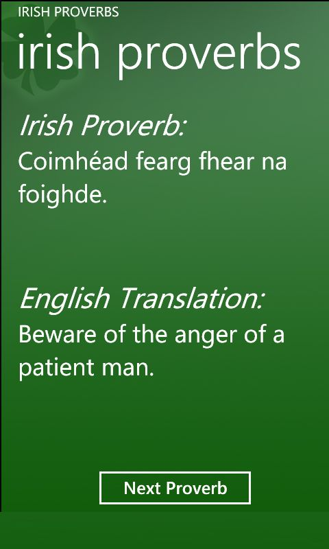Irish Proverbs Windows Phone 7 application - AppsFuze