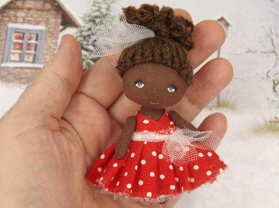 Birthday gift fabric dollhouse miniature brown doll small