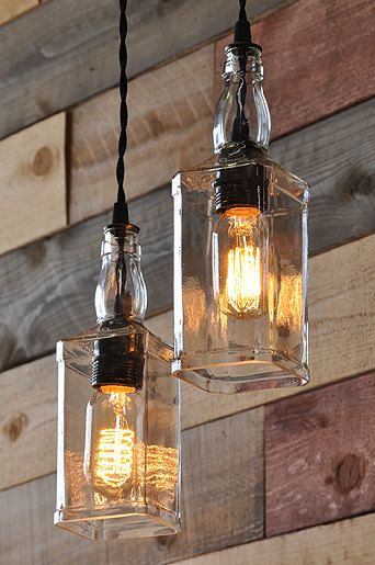 Whiskey Bottles Pulley - Lamp Recycling, Pendant Lighting (got me some amber bulbs !!)