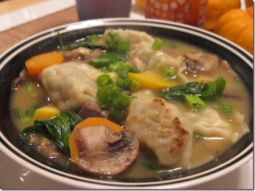 Chicken Cilantro Pot Sticker Veg soup... LOOKS delish!