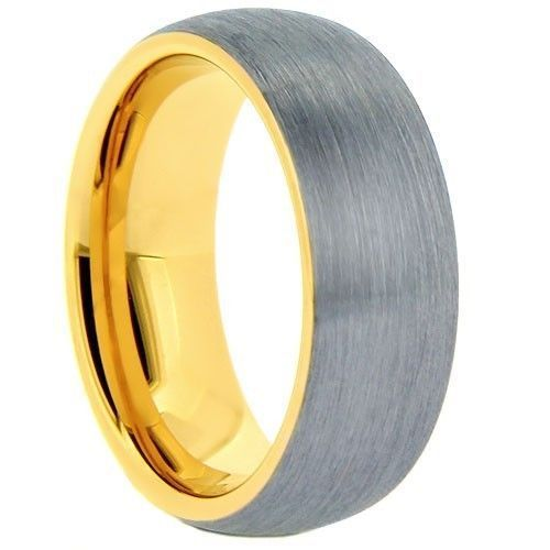 Men S Tungsten Carbide Wedding Band Ring Yellow Gold Inside Edges Comfort F Tungsten Mens Rings Mens Wedding Bands Tungsten Carbide Mens Wedding Bands Tungsten