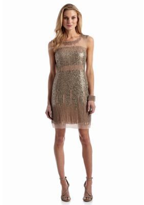 Adrianna Papell  Bead and Sequin Cocktail Dress