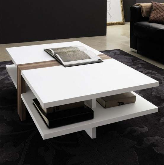 A Modern Coffee Table In White With A Wooden Part To Accenturize And Some Open Storage Great F Coffee Table Modern Side Table Design Living Room Decor Modern