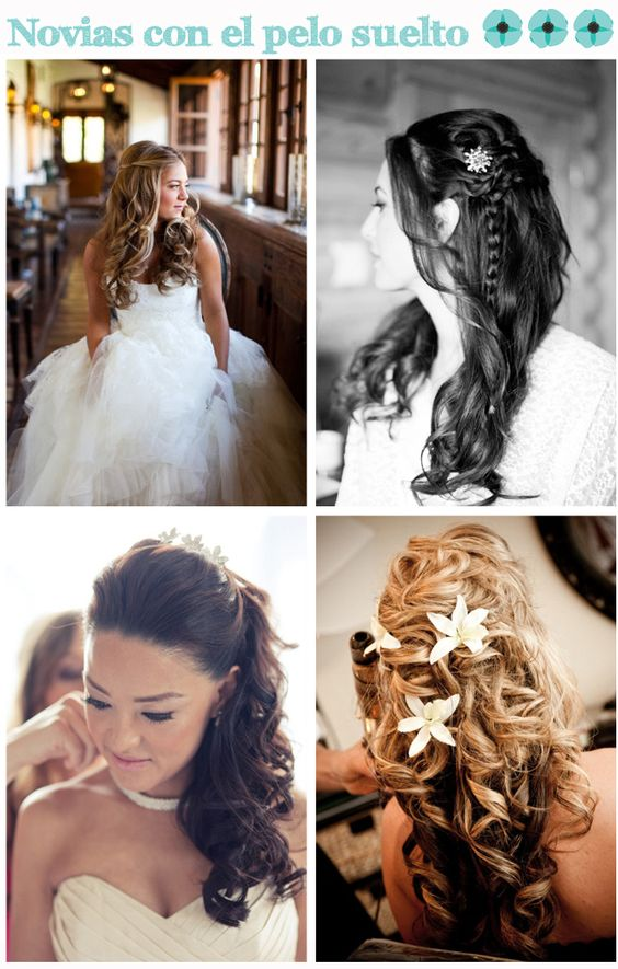 peinado novia pelo rizado suelto