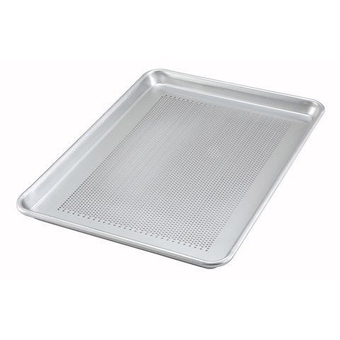 Winco Alxp2618p 18x26 16 Gauge Full Size Closed Bead Aluminum Perforated Baking Sheet Pan Baking Tray Click Image Baking Cookie Sheets Winco Glass Bakeware
